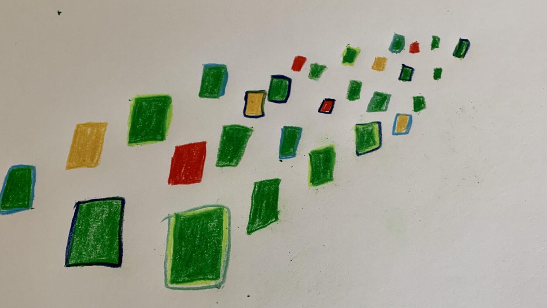 Viele grüne, wenige rote und gelbe Rechtecke